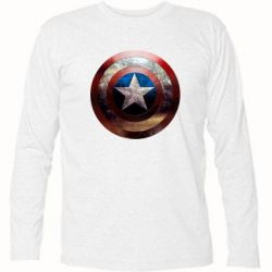 Футболка с длинным рукавом Потрескавшийся щит Капитана Америка - PrintSalon