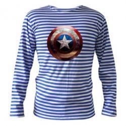 Тельняшка с длинным рукавом Потрескавшийся щит Капитана Америка - PrintSalon