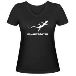 Женская футболка с V-образным вырезом Quattro - PrintSalon