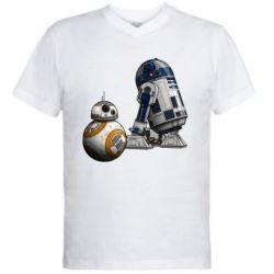 Мужская футболка  с V-образным вырезом R2D2 & BB-8 - PrintSalon