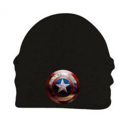 Шапка на флисе Потрескавшийся щит Капитана Америка - PrintSalon