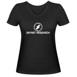 Женская футболка с V-образным вырезом Skynet Research
