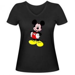 Женская футболка с V-образным вырезом Сool Mickey Mouse - PrintSalon