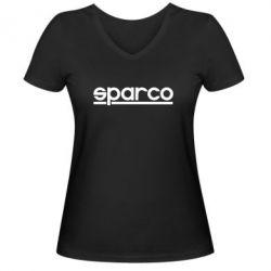 Женская футболка с V-образным вырезом Sparco - PrintSalon