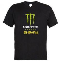 Мужская футболка  с V-образным вырезом Subaru Monster Energy