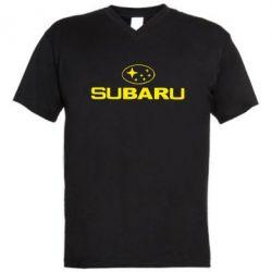 Мужская футболка  с V-образным вырезом Subaru - PrintSalon