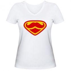 Жіноча футболка з V-подібним вирізом Супер вуса