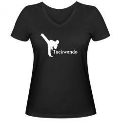 Женская футболка с V-образным вырезом Taekwondo