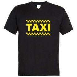 Мужская футболка  с V-образным вырезом TAXI - PrintSalon