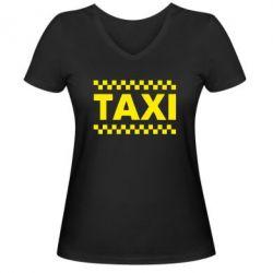 Женская футболка с V-образным вырезом TAXI - PrintSalon