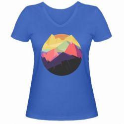 Женская футболка с V-образным вырезом The mountains Art