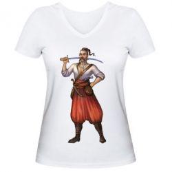 Женская футболка с V-образным вырезом Ukraine Cossak