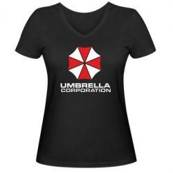Женская футболка с V-образным вырезом Umbrella - PrintSalon