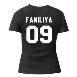 Женская футболка с V-образным вырезом Ваша фамилия и номер - PrintSalon