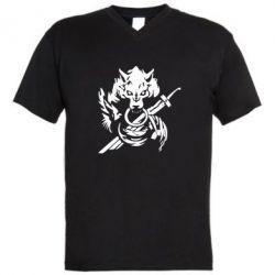 Мужская футболка  с V-образным вырезом Волк с мечем