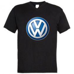 Мужская футболка  с V-образным вырезом Volkswagen 3D Logo
