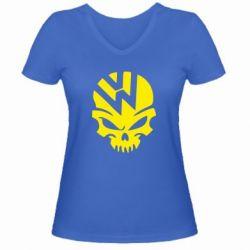 Женская футболка с V-образным вырезом Volkswagen Skull