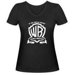 Женская футболка с V-образным вырезом Warn A brother - PrintSalon