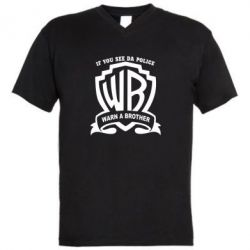 Мужская футболка  с V-образным вырезом Warn A brother - PrintSalon