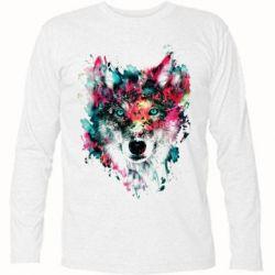 Футболка с длинным рукавом Watercolor Colorful Wolf - PrintSalon