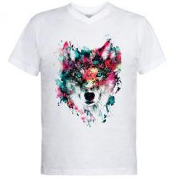 Мужская футболка  с V-образным вырезом Watercolor Colorful Wolf - PrintSalon