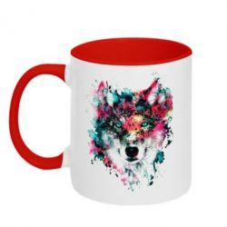 Кружка двухцветная Watercolor Colorful Wolf - PrintSalon