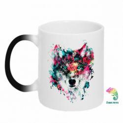 Кружка-хамелеон Watercolor Colorful Wolf - PrintSalon