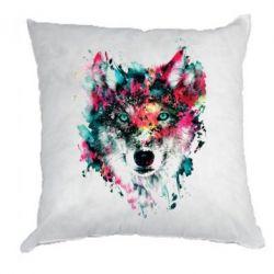 Подушка Watercolor Colorful Wolf - PrintSalon