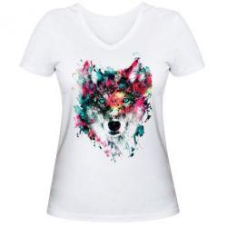 Женская футболка с V-образным вырезом Watercolor Colorful Wolf - PrintSalon
