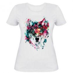 Женская футболка Watercolor Colorful Wolf - PrintSalon