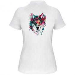 Женская футболка поло Watercolor Colorful Wolf - PrintSalon