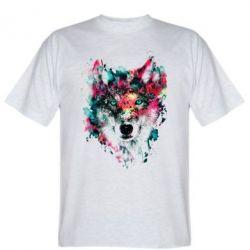 Мужская футболка Watercolor Colorful Wolf - PrintSalon