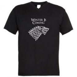Мужская футболка  с V-образным вырезом Winter is coming (Игра престолов) - PrintSalon