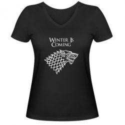 Женская футболка с V-образным вырезом Winter is coming (Игра престолов) - PrintSalon