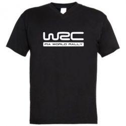 Мужская футболка  с V-образным вырезом WRC - PrintSalon