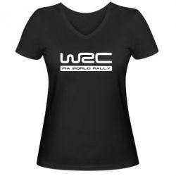 Женская футболка с V-образным вырезом WRC - PrintSalon