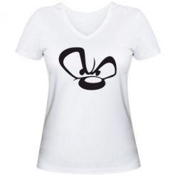 Женская футболка с V-образным вырезом Злой мишка